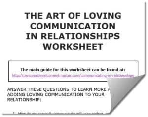 The Art of Loving Communication Worksheet