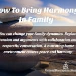 Simple Formula On How To Bring Harmony In Family